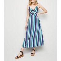 Brave Soul Blue Stripe Tie Front Maxi Dress New Look