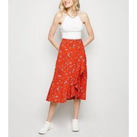 Brave Soul Red Floral Wrap Midi Skirt New Look