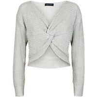 Grey Twist Front Knit Jumper New Look