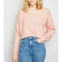 Pale Pink Ribbed Crop Jumper New Look