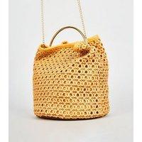 Mustard Leather-Look Woven Bucket Bag New Look