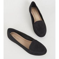 Black Suedette Piped Edge Loafers New Look