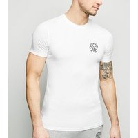 White TW9 Embroidered Muscle Fit T-Shirt New Look