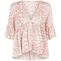 tokyo doll pink leopard print satin peplum top new look