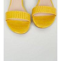 Wide Fit Yellow Faux Croc Metal Heel Sandals New Look