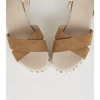 Wide Fit Tan Espadrille Flatform Sandals New Look