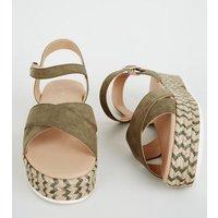 Wide Fit Khaki Espadrille Flatform Sandals New Look
