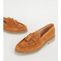 Tan Suede Tassel Trim Loafers New Look