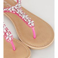 Wide Fit Bright Pink Leather-Look Beaded Sandals New Look