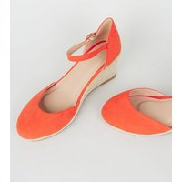 Wide Fit Orange Suedette Espadrille Wedges New Look