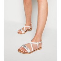 White Leather Gem Strap Flat Sandals New Look
