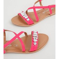Bright Pink Leather Gem Strap Flat Sandals New Look