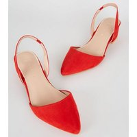 Wide Fit Red Suedette Slingback Pumps New Look