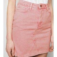 Pink Acid Wash Denim Mom Skirt New Look