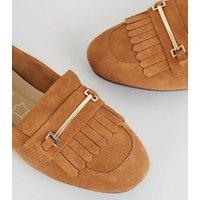 Tan Suede Tassel Bar Trim Loafers New Look