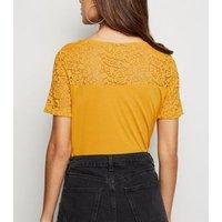JDY Mustard Lace Yoke T-Shirt New Look