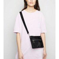 Black Clear Pocket High Shine Cross Body Bag New Look