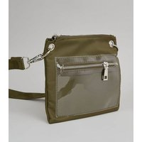 Khaki Clear Pocket High Shine Cross Body Bag New Look