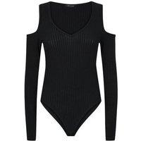 Black Ribbed Cold Shoulder Bodysuit New Look