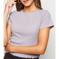 Lilac Marl Frill Trim Crop T-Shirt New Look