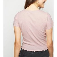 Pink Marl Frill Trim Crop T-Shirt New Look