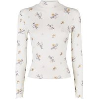 White Floral Ribbed Frill Hem Top New Look
