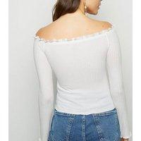 White Long Sleeve Frill Bardot Top New Look