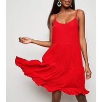 Red Tiered Crepe Sundress New Look