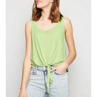 Light Green Neon Tie Front Vest New Look