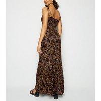 Navy Leopard Print Shirred Tier Maxi Dress New Look