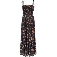Black Daisy Shirred Tier Maxi Dress New Look
