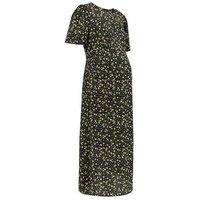 Maternity Black Ditsy Floral Split Side Midi Dress New Look