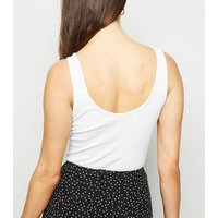 White Ribbed Popper Front Vest New Look