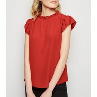 Red Frill Trim Blouse New Look