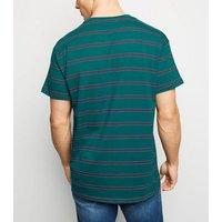 Teal Stripe Crew T-Shirt New Look