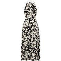 Black Daisy Halterneck Midi Dress New Look