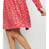 Red Ditsy Floral Jersey Smock Dress New Look