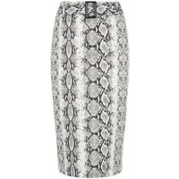Cameo Rose Light Grey Snake Print Midi Skirt New Look