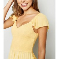 Pale Yellow Milkmaid Shirred Dress New Look