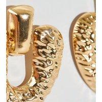 Gold Hammered Heart Door Knocker Earrings New Look