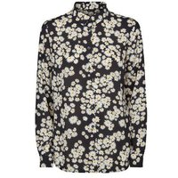 Black Daisy Long Sleeve Chiffon Shirt New Look