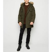 Khaki Hooded Faux Fur Trim Parka Coat New Look