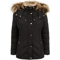 Petite Black Faux Fur Fitted Puffer Jacket New Look