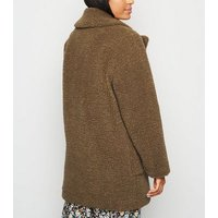 Petite Rust Teddy Coat New Look