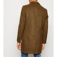 Camel Double Pocket Overcoat New Look