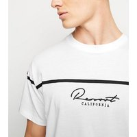 Mens White Stripe Resort Slogan T-Shirt New Look