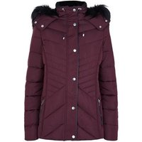 Tall Burgundy Faux Fur Trim Fitted Puffer Jacket New Look