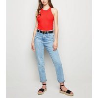 Red Ribbed Racerback Vest New Look
