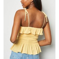 Pale Yellow Shirred Frill Cami New Look