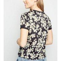 black-daisy-ringer-tshirt-new-look